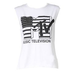 Womens MTV Music Television Ladies Vest Tank Top ($2.02) ❤ liked on Polyvore featuring tops and shirts