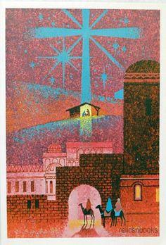 #1126 60s Mod Nativity Scene-Magi-Vintage Christmas Card-Greeting