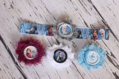 1 frozen headband that fits 12 months-teen 4 Frozen bows that have alligator clips with teeth that attach to the headband.   4 Bows & I Headband ONLY $17  Can wear bows alone and headband alone or together. Endless possibilities.
