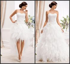 Ladies Dresses 2015 Two In One Wedding Dresses With Detachable Skirt Sweetheart Appliques Tiers Ruffles High Low Beach Elegant Wedding Dress Gowns Cheap Long Sleeve Wedding Dresses From Honeywedding, $159.17| Dhgate.Com