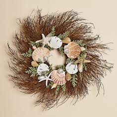 24 Inch Twig Wreath with natural Irish Flat Shells, Sand Dollars and Starfish