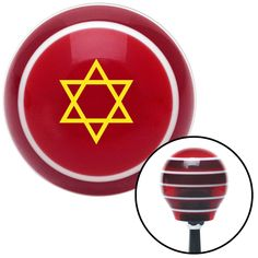 Yellow Star of David Red Stripe Shift Knob with M16 x 15 Insert - Give your interior the ultimate look. American Shifter's Elite(TM) series shift knobs are made from the highest quality components resulting in a superior feel on every shift. Each shift knob is designed and customized in the USA by skilled shift knob artisans who have a trained eye on every detail. American Shifters shift knobs offers an exclusive aluminum threaded insert designed to be screwed onto your shift arm. You should…