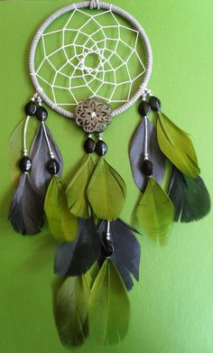Dream Catcher  Green and Gray  Modern  by TheModernDreamer on Etsy, $46.00