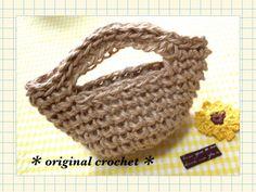 MINI BOLSA TEJIDA CON LAZO....麻紐で編むミニバッグ☆かぎ針編み(*^_^*)Crochet mini bag