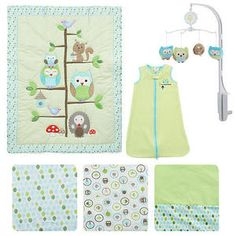 Just Born Babywise 6-Piece Crib Set Mobile Boys Nature Crib Bedding Owl in Woods
