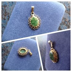 """Necklace Charm - 1/20 12K GF FRILLAGRE ~JADE STONE VINTAGE 1/20 K GF (MARKED) FILIGREE NECKLACE CHARM/PENDANT WITH A GENUINE JADE STONE. THIS PENDANT IS IN BEAUTIFUL PRE-OWNED CONDITION.  IT DOES NOT COME WITH A CHAIN.  IT IS APPROX 3/4"""" LONG.. Bundle with other Jade pendant/charm on gold-tone chain and interchange looks! Jewelry Necklaces"""