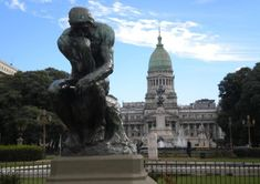 Rodin's The Thinker (signed replica) statue & National Parliament (Congreso) in Buenos Aires, Argentina Best Places To Live, Places To Visit, Rodin The Thinker, In Patagonia, Argentina Travel, World Cities, Group Tours, Lake District, South America