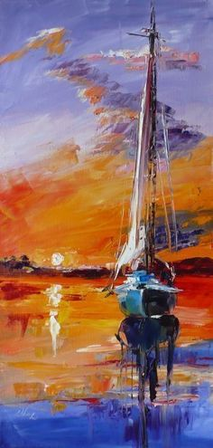 Sailboat: Paintings Impressionism Canvas Oil Boat Marine Seascape Artist - D. Painting Edges, Oil Painting Abstract, Watercolor Paintings, Abstract Art, Sailboat Art, Sailboat Painting, Sailboats, Landscape Art, Landscape Paintings