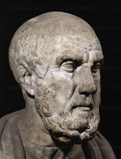 Hippocrates of Kos (often identified with Chrysippos). Marble bust Height 36 cm MA 326   Louvre, Departement des Antiquites Grecques/Romaines, Paris, France