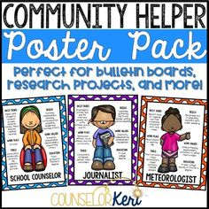 Career Education Community Helper Posters for Elementary Career Exploration Career Counseling, Career Education, School Counselor, Elementary Education, Career Clusters, November Bulletin Boards, Career Day, English Exercises, Agricultural Science
