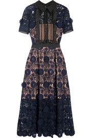 Camilla chiffon-trimmed guipure lace dress
