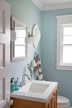 Light blue bathroom -- Benjamin Moore gossamer blue wall paint, and Benjamin Moore decorator's white trim paint. Blue Bathroom Paint, Small Bathroom, Blue Bathrooms, Bathroom Ideas, Bathroom Colors Blue, Bathroom Styling, Bathroom Designs, Benjamin Moore, Light Blue Paints