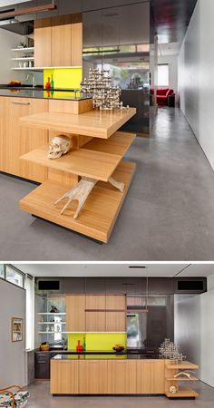 SHELVING IDEA - Shelves That Wrap Around Corners // Three shelves wrap around the island in this kitchen to display decor and individualize the space.