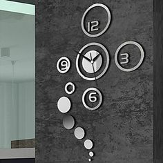 1 x DIY Mirror Wall Clock Sticker(Not include battery). The clock size is depends on your preference to decorate your wall. the clock on the wall. Wall Clock Sticker, Mirror Wall Clock, 3d Mirror Wall Stickers, Wall Clock Design, Wall Stickers Home Decor, Vinyl Wall Art, Wall Decal, Mirror Room, Mirror Glass