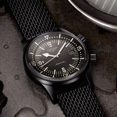 Darkness for Descent: The Longines Legend Diver in Black PVD (Updated with Price) All Black Watches, Big Watches, Best Watches For Men, Sport Watches, Cool Watches, Omega Speedmaster Moonwatch, Omega Seamaster, Longines Hydroconquest, Hublot Classic