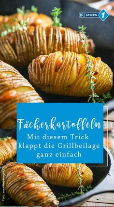 Fan potatoes: Grillbeilage: Fan potatoes with rosemary .- Fächerkartoffeln: Grillbeilage: Fächerkartoffeln mit Rosmarin Fan potatoes as grilled side dish – but how do you get the accurate grooves in the potato? In this recipe you will learn it - Barbecue Recipes, Burger Recipes, Potato Recipes, Salad Recipes, Chicken Recipes, Grilled Side Dishes, Grilling Sides, Homemade Burgers, Potato Side Dishes