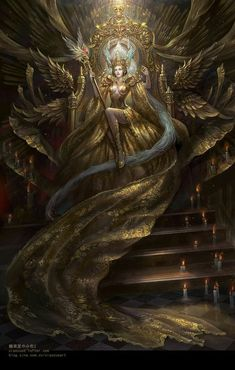 'Gold Queen ophelia' by Xiao Zuo on We Heart It - Imagen de fantasy, art, and magic - Anime Art, Fantasy Characters, Character Art, Fantasy Artwork, Fantasy Art, Female Art, Art, Dark Art, Dark Fantasy Art