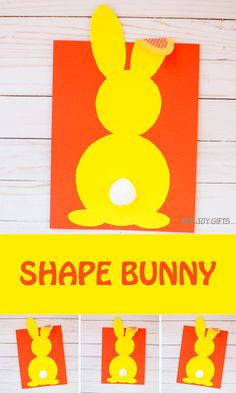 Shape bunny craft for spring or Easter