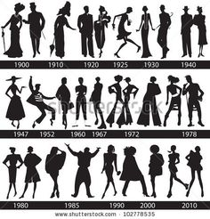 Fashion history, man and woman silhouettes, vector, illustration by sch, via ShutterStock