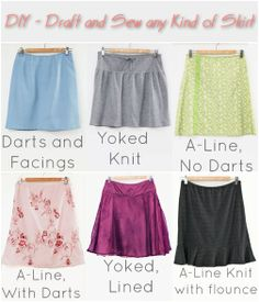 Sewing Skirts DIY Skirt Sewing - Everything you ever wanted to know about how to draft your own skirt pattern and sew a skirt, as well as make many skirt variations Diy Clothing, Sewing Clothes, Clothing Patterns, Sewing Patterns, Sewing Hacks, Sewing Tutorials, Craft Tutorials, Sewing Projects, How To Make Skirt