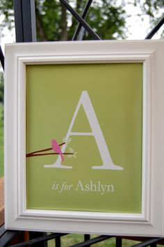 "Personalized Love Bird Initial Monogram Baby Name Print - Custom Baby Gift - Baby Shower Gift - 8""x10"""