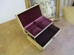 Vintage Cream with Gold Trim Farrington Jewelry Box. by ontherebound on Etsy