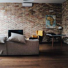 Living room with bricks