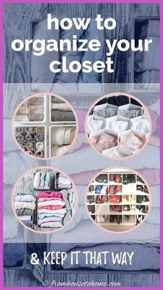 These bedroom closet organizing ideas and storage tips will help to clean out your closet in no time! Reorganize and declutter so you can find your clothes (and have room for more!) #fromhousetohome #closet #organization #storageideas #closetandlaundryroomdecor