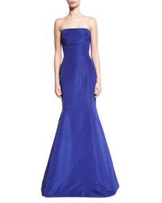 Strapless+Ruffle-Back+Silk+Faille+Gown,+Royal+by+Oscar+de+la+Renta+at+Bergdorf+Goodman.