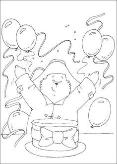 Paddington Bear Coloring Pages – Birthday Printable Bear Coloring Pages, Printable Coloring Pages, Coloring Pages For Kids, Coloring Sheets, Coloring Books, Kids Coloring, 1st Birthday Themes, Bear Birthday, Paddington Bear Party