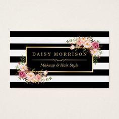 Makeup Artist Beauty Salon Gold Vintage Flor al Business Card