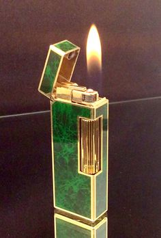 DUNHILL ROLLGAS LIGHTER  Gold Plated Green by STUNNINGCOLLECTIBLES