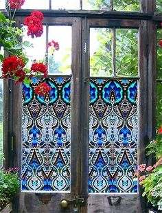 Stained glass window film (sticker material) from PURL Deco on old doors for a greenhouse. Garden Doors, Garden Gates, Garden Art, Garden Design, Glass Garden, Garden Ideas, Garden Entrance, Garden Cottage, House Entrance
