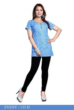 Blue American Crepe Printed Short Kurti - Crepe Kurtis / Tunics Manufacturer & Exporter | Kurtisindia