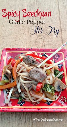 This spicy szechuan garlic pepper pork stir fry is perfect for those who like heat with their Asian dishes. #SmithfieldPork #ad