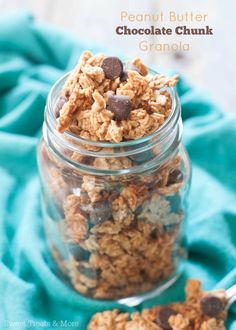 Peanut Butter Chocolate Chunk Granola | Sweet Treats and More. This granola is perfect for snacking and is so addicting! #granola #breakfast #recipe