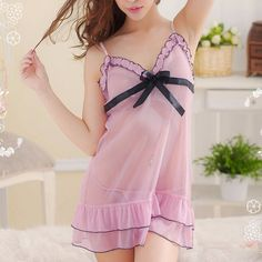 Charming Sexy Babydoll Lingerie Lace Pink With Bow Big. Brand Name: KLVMaterial: Acrylic,PolyesterDecoration: BowPattern Type: SolidModel Number: 3T1289Fabric Type: ChiffonGender: WomenItem Type: Baby DollsSpecial Use: Exotic Apparel