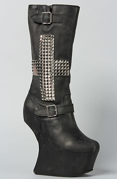 Jeffrey Campbell The Nightcross Boot in Black Wash and Silver : Karmaloop.com - Global Concrete Culture
