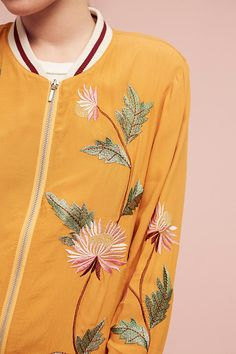 Embroidered Solstice Bomber Jacket. Step out of your comfort zone and play with colour, shape and detailing. We promise you'll evoke a look of modern elegance in this bomber.