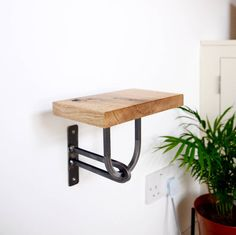 Small Oak Shelf with Steel Bracket - Plant Stand/Phone Holder - Modern Industrial Chic, Handmade by escafell on Etsy https://www.etsy.com/uk/listing/526745971/small-oak-shelf-with-steel-bracket-plant
