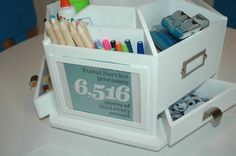 art carousel - colored pencils and pens, stamps, googley eyes, alphabet stamps, date stamp, tape and glue