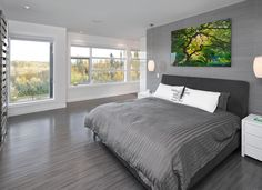 grey accent wall ideas: cool grey bedding fashion edmonton contemporary bedroom remodeling ideas with cute pillows dark gray headboard drawers Grey Headboard, Grey Bedding, Headboard Ideas, Gray Bedroom, Bedroom Colors, Gray Rooms, Gray Walls, Master Bedroom, Contemporary Bedroom