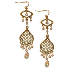 Marrakech arabesque gold and pearl earrings from Baubella by Sophia & Chloe $60