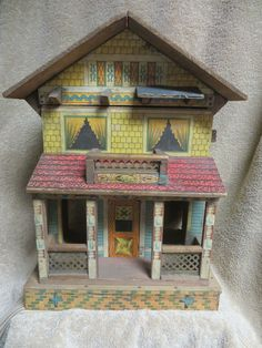 ANTIQUE BLISS DOLL HOUSE-2 STOREY WITH PORCH-PAPER LITHO ON WOOD-VERY NICE