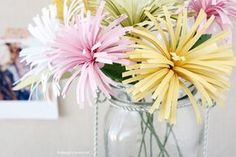 Colorful DIY Paper Flowers. Spider Mums