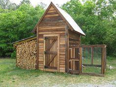Chicken coop and wood storage. Very rustic and cute... and useful. I like this one.