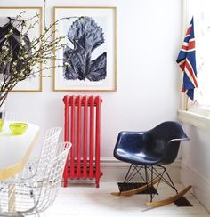 Painted radiators are a great way to turn something that could be considered an eyesore into a showpiece! (via House & Home) Contemporary Radiators, Painted Radiator, Designer Radiator, Colour Schemes, Colour Palettes, Beautiful Space, Interior Inspiration, Interior Ideas, Diy Painting