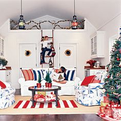 Festive Holiday Rooms | Red, White, and Blue Christmas | CoastalLiving.com