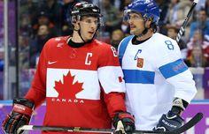 Sidney Crosby and Teemu Selanne, Sochi 2014 (via sidmalkin / Tumblr) -- Teemu -- the oldest man in Olympic history to score a goal -- 42!