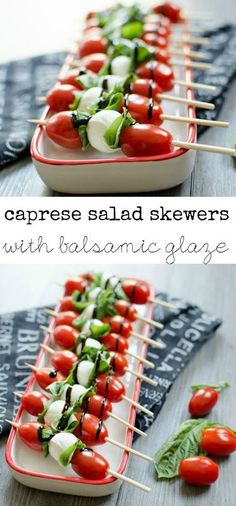 Caprese Salad Skewers with Balsamic Glaze - Tomatoes, basil and mozzarella drizz. Caprese Salad Skewers with Balsamic Glaze - Tomatoes, basil and mozzarella Skewer Appetizers, Appetizer Plates, Healthy Appetizers, Appetisers, Appetizers For Party, Appetizer Recipes, Simple Appetizers, Snacks Recipes, Savory Snacks